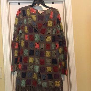 Multi color Patch work block cardigan sweater